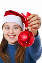 Girl with christmas ball Royalty Free Stock Photos