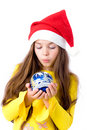 Girl in christmas cap Royalty Free Stock Images