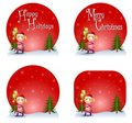Girl Christmas Gift Logos Royalty Free Stock Photos