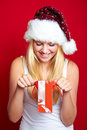Girl on Christmas with gifts Royalty Free Stock Photo