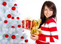 Girl with christmas surprise Royalty Free Stock Photos
