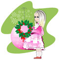 Girl and a Christmas wreath Royalty Free Stock Image