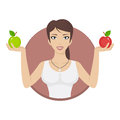 Girl in circle holds apples illustration format eps Stock Image