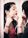 Girl cleaning pores Royalty Free Stock Photo