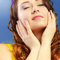 Girl closed eyes daydreaming portrait Royalty Free Stock Photo