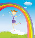 Girl on cloud and a rainbow Stock Image