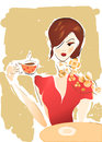 Girl with coffee cup or tea illustration of a woman in cafe Royalty Free Stock Photography