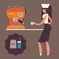Girl with coffee machine Stock Photography