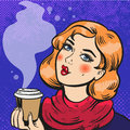 Girl with coffee pop art comics Royalty Free Stock Photo