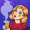 Girl with coffee pop art comics
