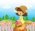 A girl collecting flowers illustration of Stock Image