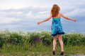 Girl in colored dress blonde wearing a summer summer time Royalty Free Stock Photography
