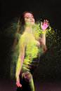 Girl with colored powder Royalty Free Stock Photo