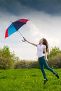 Girl with colored umbrella Royalty Free Stock Photography