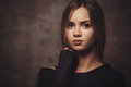 The girl with a confident look portrait of slavic who looks in camera Royalty Free Stock Photos