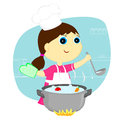 Girl cook the little a vegetable soup Stock Photo
