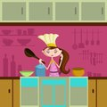 Girl cooking in kitchen wearing chef hat Stock Image