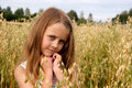Girl in cornfield Royalty Free Stock Photo