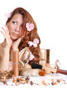 Girl with cosmetics Stock Images