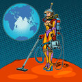 Girl cosmonaut cleaned of mars pop art retro style space exploration and development a woman and a vacuum cleaner retro Stock Photography