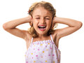Girl covering ears and yelling noise stress concept child isolated on white Royalty Free Stock Photo