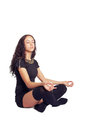 Girl in cross legged meditation pretty pose Royalty Free Stock Photography