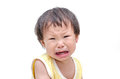 Girl crying over white background asian baby Stock Photography