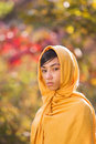 Girl crying a wearing a yellow hijab Royalty Free Stock Images