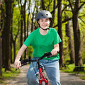 Girl cycling Stock Photo