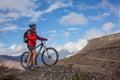 Girl cycling at the road Royalty Free Stock Photo