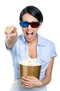 Girl in d glasses watching movie with popcorn film the bowl full of isolated on white Royalty Free Stock Photo