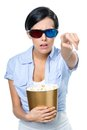 Girl in d glasses watching movie with popcorn spectacles cinema the bowl full of isolated on white Stock Photos