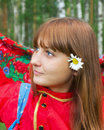 Girl with daisies and folk scarf Royalty Free Stock Photography