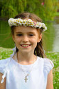 Girl with daisy chain Royalty Free Stock Photo