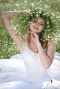 Girl with daisy crown Royalty Free Stock Photography