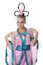 The girl-dancer in a costume of the Japanese Royalty Free Stock Photo