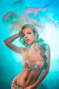 Girl dancer sensuality cabaret in the lingerie Stock Photography
