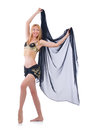 Girl dancing belly dance on white Royalty Free Stock Images