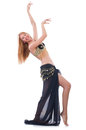 Girl dancing belly dance on white Royalty Free Stock Photos