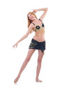 Girl dancing belly dance on white Stock Photos