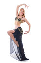 Girl dancing belly dance on white Stock Photo