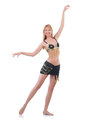 Girl dancing belly dance on white Stock Photography