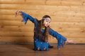 Girl dancing in blue dress Royalty Free Stock Images