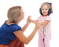 Girl dancing with headphones Royalty Free Stock Photos