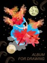 Girl dancing with the sun. Fantastic illustration, album cover for drawing. Black night sky with stars and planets, sun rays Royalty Free Stock Photo