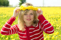 Girl with a dandelion crown smiling woman Royalty Free Stock Photos