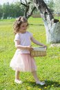 Girl in the dandelion field Royalty Free Stock Photo
