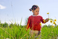 Girl with dandelion flowers little outdoor in nature Stock Photo