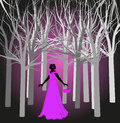 Girl in the dark woods young silhouette Stock Image