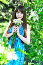 Girl with dasies Stock Images